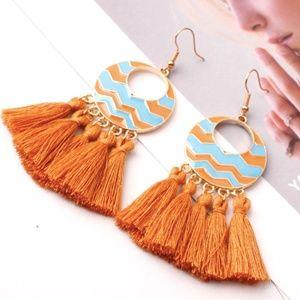 Chevron Tassel Dangle Earrings